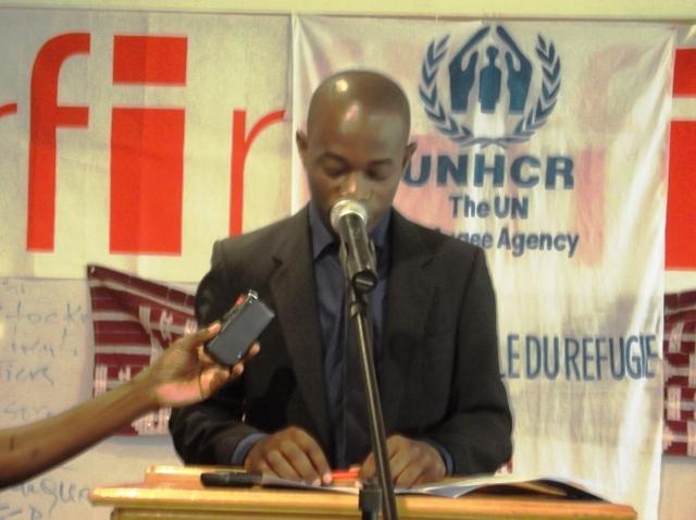 Cédric Ouanekpone lors de son discours du 20 juin 2014